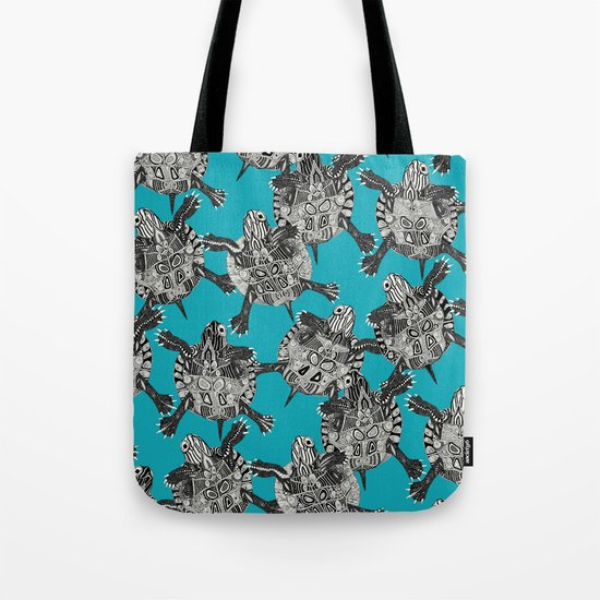 turtle party surf blue Tote Bag