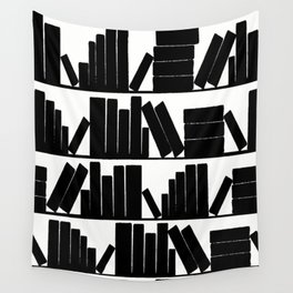 Library Book Shelves, black and white Wall Tapestry