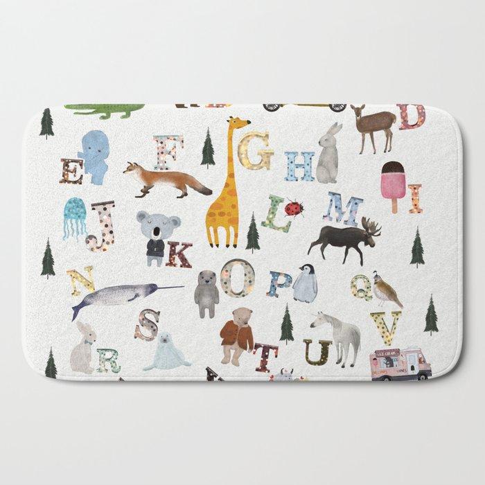 little nature alphabet Bath Mat