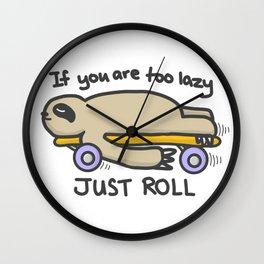Sloth Skateboarding Wall Clock