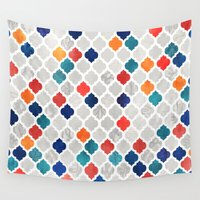spice Wall Tapestries featuring Sea & Spice Moroccan Pattern by micklyn