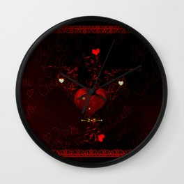 Beautiful hearts with floral elements, valentine's day Wall Clock