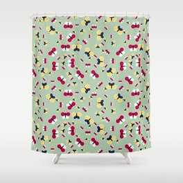 Crisscross Butterflies - Pistachio Color Shower Curtain