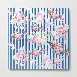 Vintage bohemian pink roses blue white stripes Metal Print
