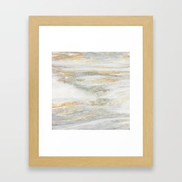 White Gold Marble Texture Framed Art Print