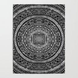 Zentangle Mandala Black and White Poster