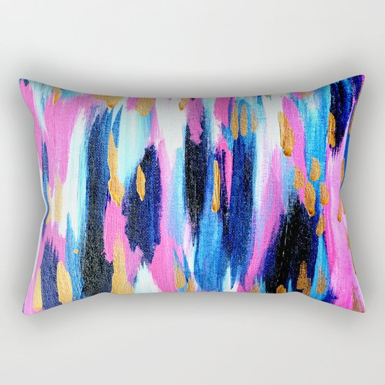 Spring Golden - Pink and Navy Abstract Rectangular Pillow