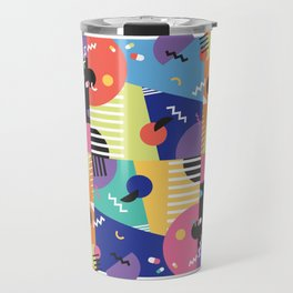 Colourful Memphis Block Design Travel Mug