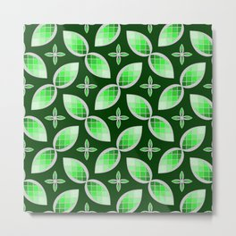Silver Foil Green Tea Mint Stained Glass Herbal Design Metal Print