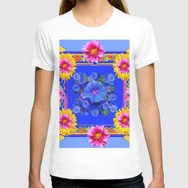 BUTTERFLIES FUCHSIA DAHLIA SUNFLOWER MORNING GLORY BLUE  FLORAL T-shirt