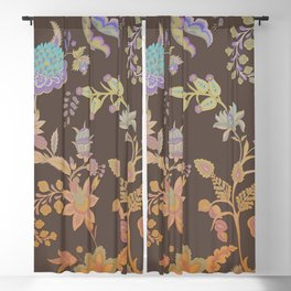 Chateau Brown Chinoiserie Decorative Floral Motif Chintz Blackout Curtain