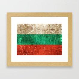 Vintage Aged and Scratched Bulgarian Flag Framed Art Print