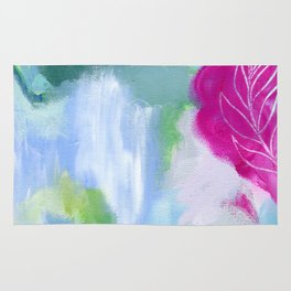 Abstract Modern Painting, Contemporary Art, Gray, Blue, Green, Magenta Rug