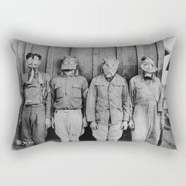 American, British, French, & German Gas Masks Rectangular Pillow