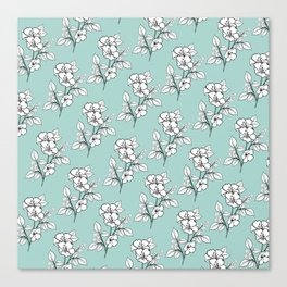 Duchess Teal White Flowers Canvas Print