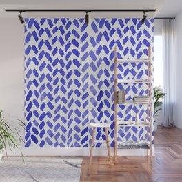 Cute watercolor knitting pattern - blue Wall Mural