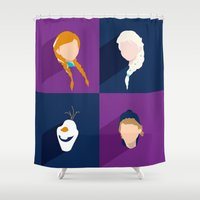 frozen Shower Curtains featuring Frozen by laurenschroer