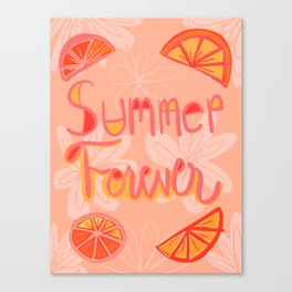 Summer Forever Orange Citrus Illustration Canvas Print