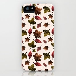 Sparkly leaves fall autumn sparkles pattern iPhone Case