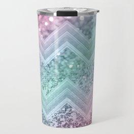 Mermaid Glitter Chevron #2 #shiny #pastel #decor #art #society6 Travel Mug