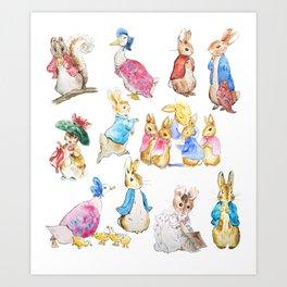 Tales of Peter Rabbit  characters Beatrix Potter Art Print