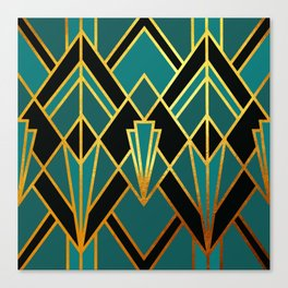 Art Deco Keep On Walking In Turquoise Canvas Print