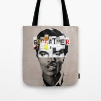 godfather Tote Bags featuring Godfather Mix 1 white by Marko Köppe