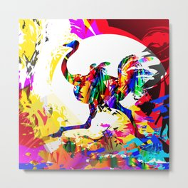 Ostrich running. African tropical colorful bird. Metal Print