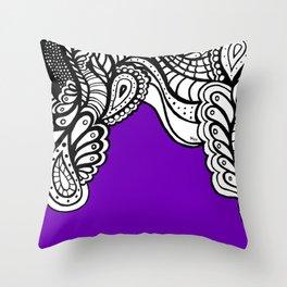 Purple B&W Doodle Throw Pillow