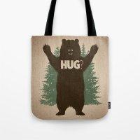 hug Tote Bags featuring Bear Hug by powerpig