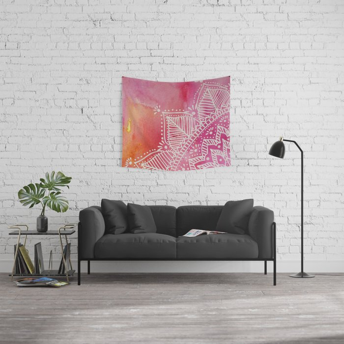 Mandala flower on watercolor background - pink Wall Tapestry