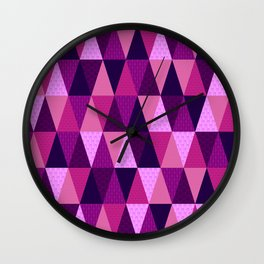 Galactic Triangles in Purples  Wall Clock