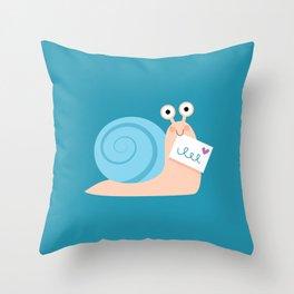 Blue snail mail Throw Pillow