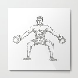 Fitness Athlete Lifting Kettlebell Doodle Art Metal Print