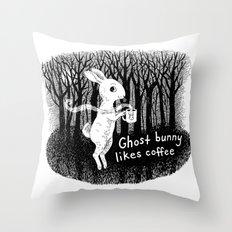 Ghost bunny likes coffee Throw Pillow
