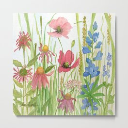 Watercolor Garden Flower Poppies Lupine Coneflower Wildflower Metal Print