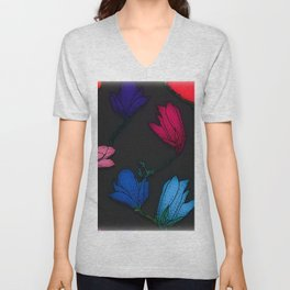 Fun With Coloring Floral Print 3 Unisex V-Neck