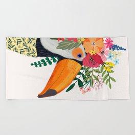 Toucan with flowers on head Beach Towel