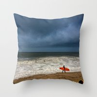 surfboard Throw Pillows featuring Orange Surfboard by PACIFIC OBLIVION