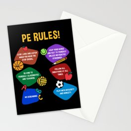 PE Physical Education Teacher Rules Stationery Cards