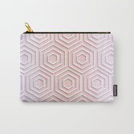 3D Hexagon Gradient Minimal Minimalist Geometric Pastel Soft Graphic Rose Gold Pink Carry-All Pouch