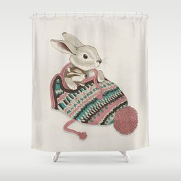 Cozy Bunny and Chipmunk Shower Curtain