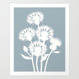Cornflower in Dusky Blue - Original Floral Botanical Papercut Design Art Print
