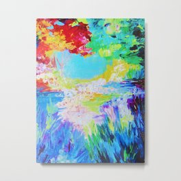 IN DREAMS - Gorgeous Bold Colors, Abstract Acrylic Idyllic Forest Landscape Secret Garden Painting Metal Print