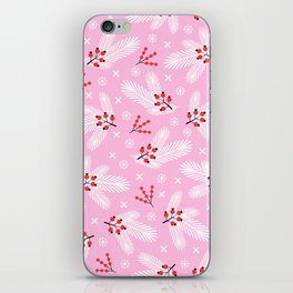 Pine branches, snowflakes and berries on pink iPhone Skin