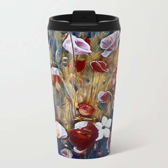Poppies and Such Metal Travel Mug