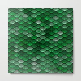 Green Mermaid Scales Metal Print