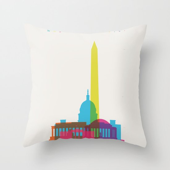 Shapes of Washington D.C. Accurate to scale Throw Pillow