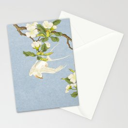 Pear blossoms and white swallow Type B: Minhwa-Korean traditional/folk art Stationery Cards