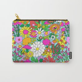60's Groovy Garden in Blue Carry-All Pouch